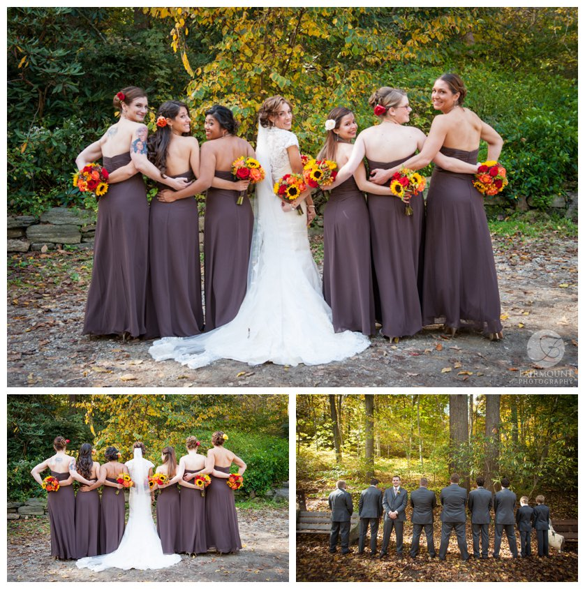 Bridesmaids show off purple dresses with fall-color bouquets