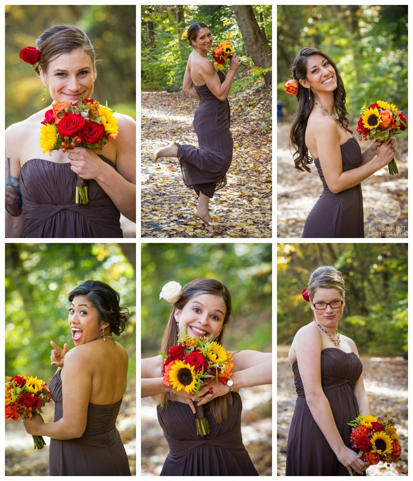 Plum bridesmaids dresses with yellow, red and orange bouquets