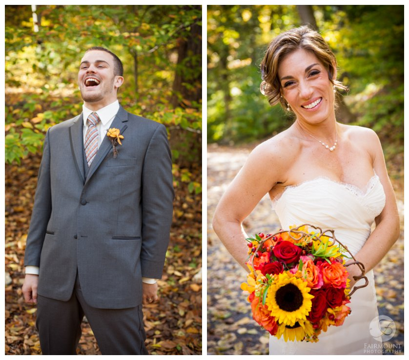 Groom laughing, bride with fall colors bouquet