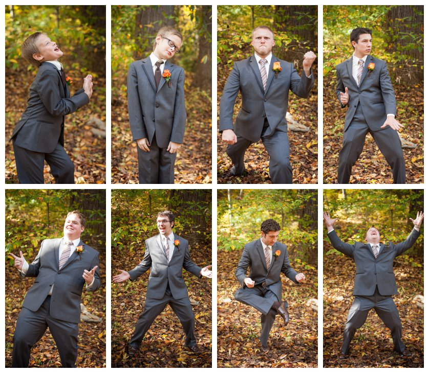 Groomsmen in gray suits with orange boutonnieres in goofy poses