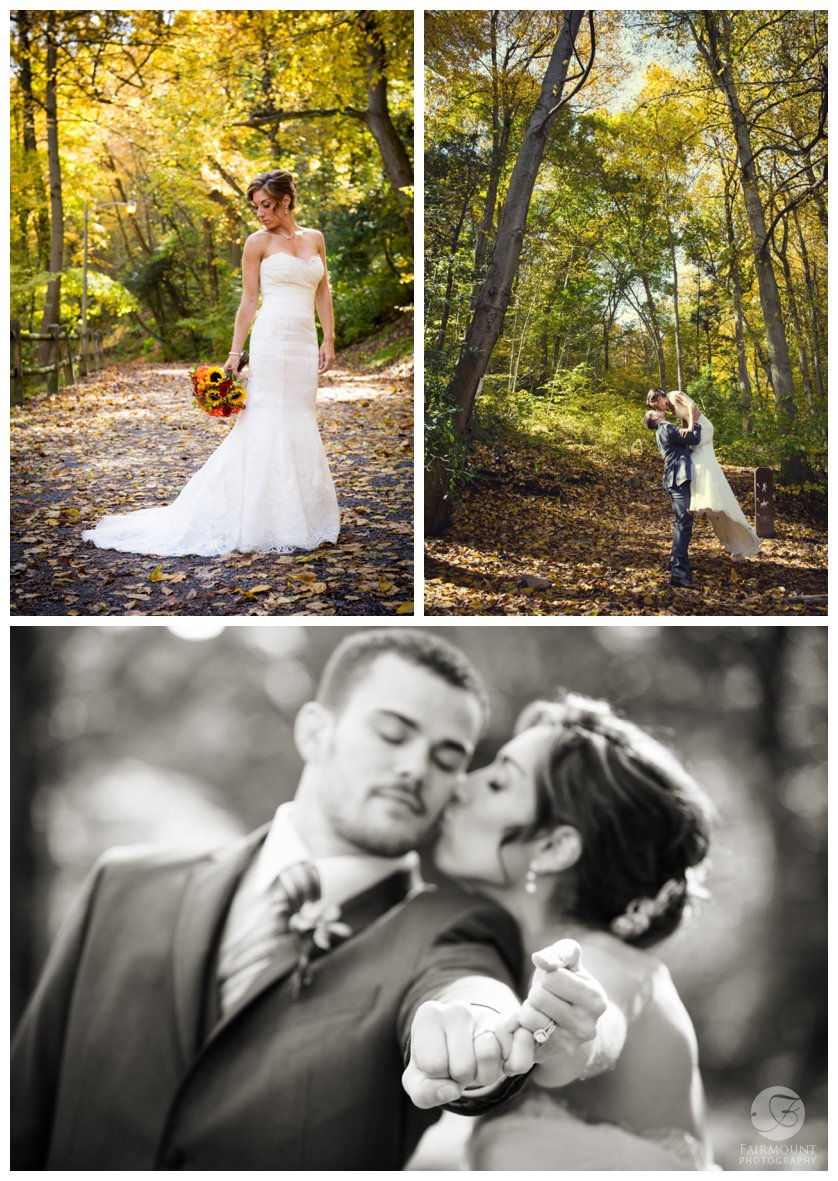 bridal portraits in the woods in Fairmount Park near Valley Green Inn in Philadelphia