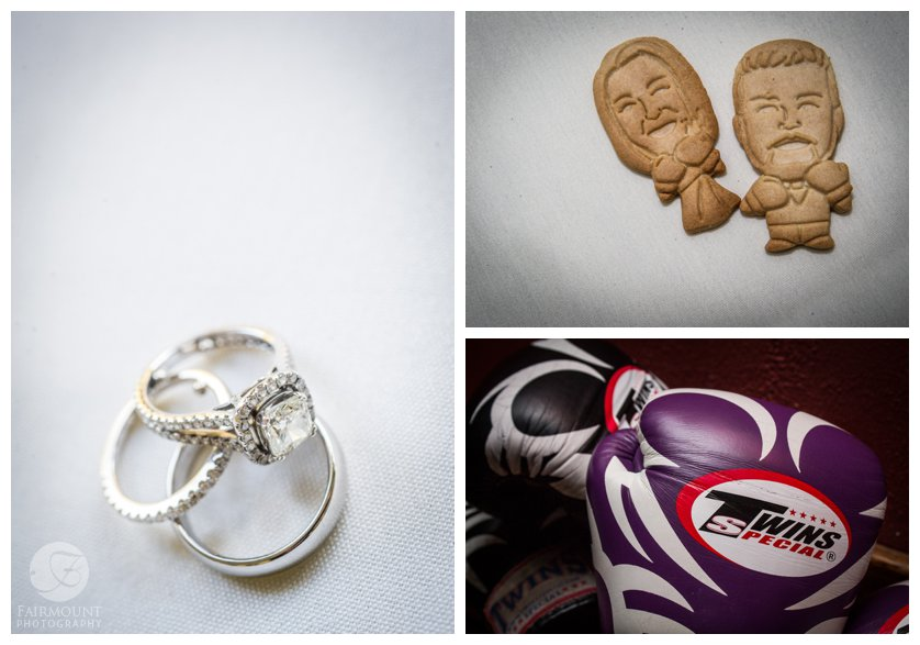 wedding bands, bride and groom as cookies with boxing gloves