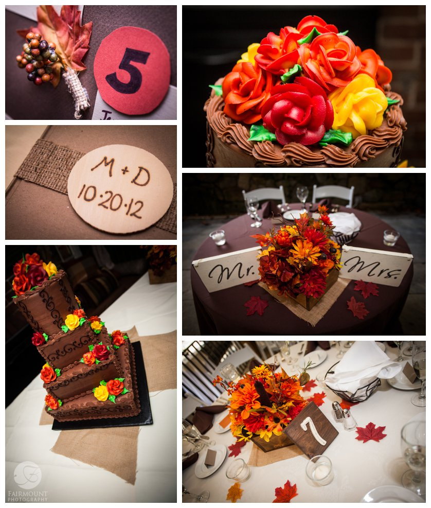 details from fall themed reception with red, yellow, orange and brown wedding colors including brown wedding cake