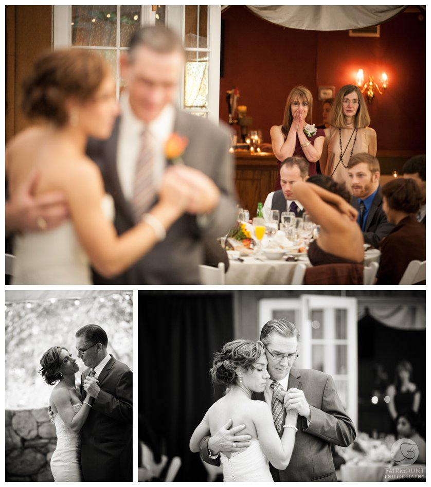 bride dances with her dad while mother looks on