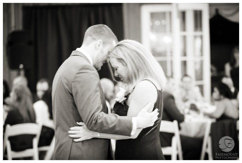 groom dances with his mother during an October wedding at Valley Green Inn