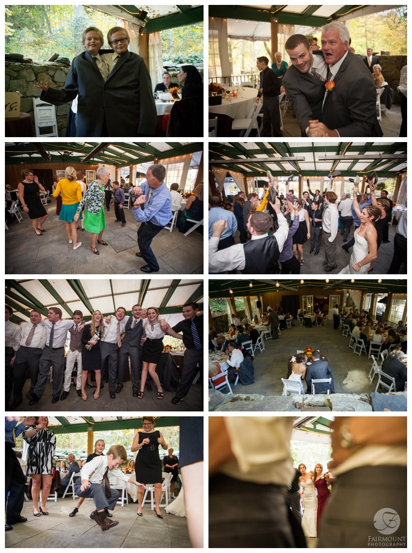 Fun dancing photos at Philadelphia wedding at Valley Green Inn
