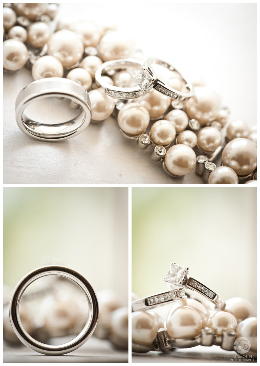 detail photos of bride and groom's wedding rings with pearl bracelet
