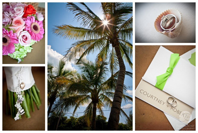 tropical colored wedding bouquet, palm trees, wedding rings in seashell, wedding invitation with lime green ribbon