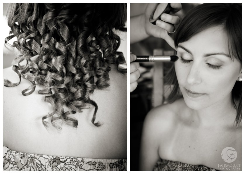 black & white photos of bride getting make-up applied and detail shot of curled hair