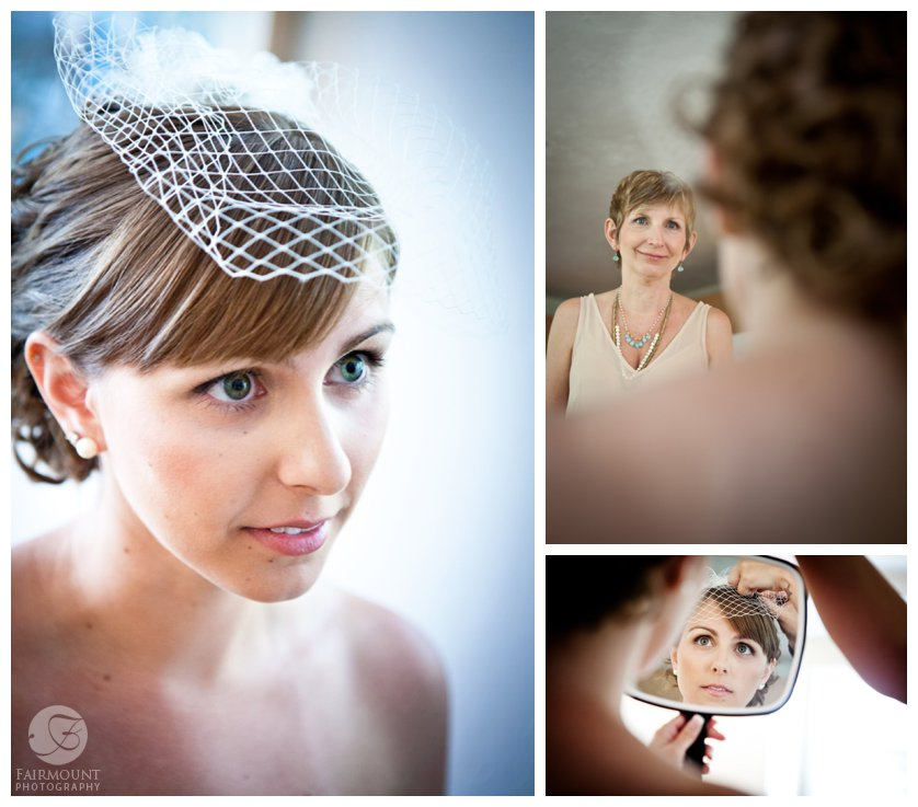 mother watches as bride gets ready, bride checks out the finished look in a hand mirror