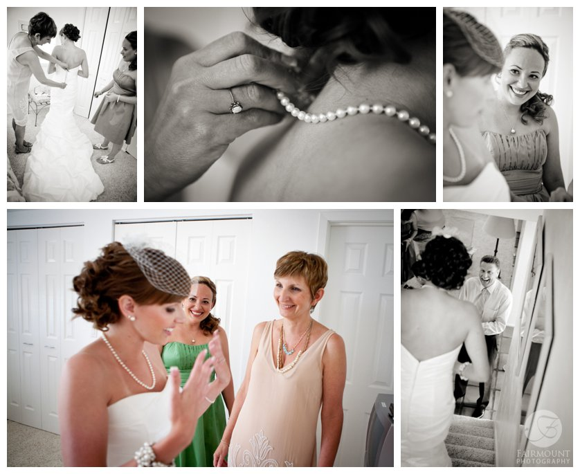 mother and maid of honor help bride into mermaid wedding gown and pearl necklace.