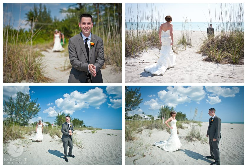 perfect blue sky and puffy clouds for a first look at Captiva for a destination wedding in Sanibel Island