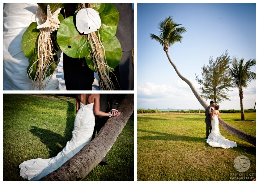 bride and groom kiss among palm trees at Casa Ybel Resort in Sanibel Island, FL