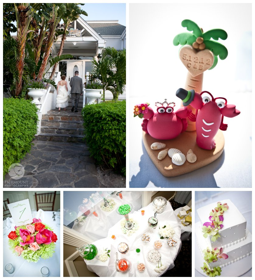 crab and lobster cake topper, white wedding cake with orchids, candy buffet and tropical colored centerpieces at Casa Ybel wedding reception