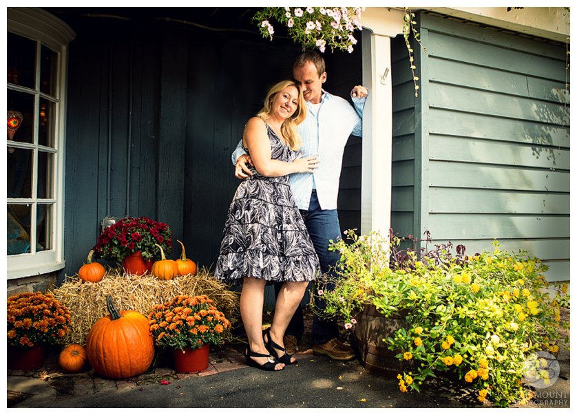 Fall-themed engagement portrait at Peddler's Village