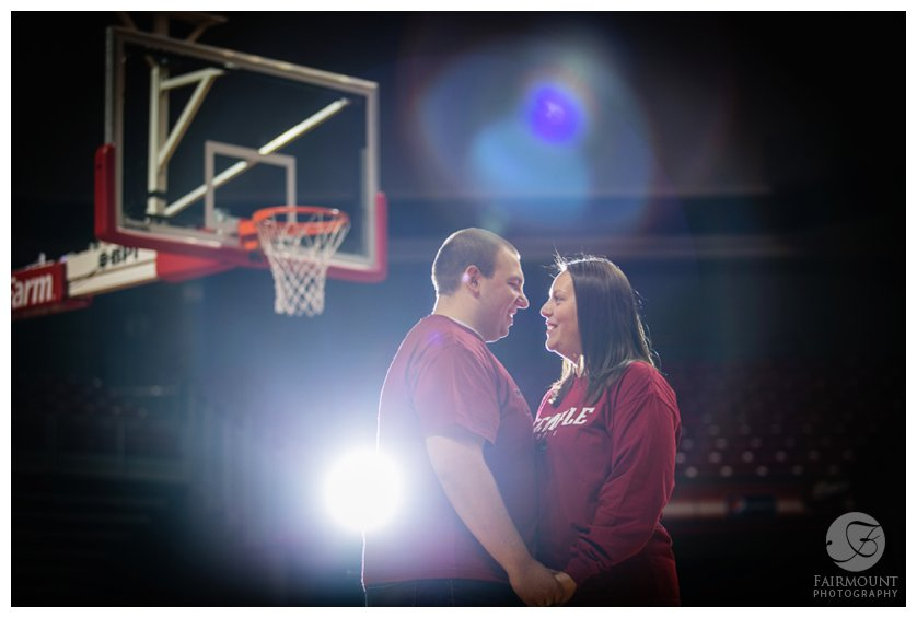 Temple basketball engagement photo at Liacouris Center in Philadelphia, PA
