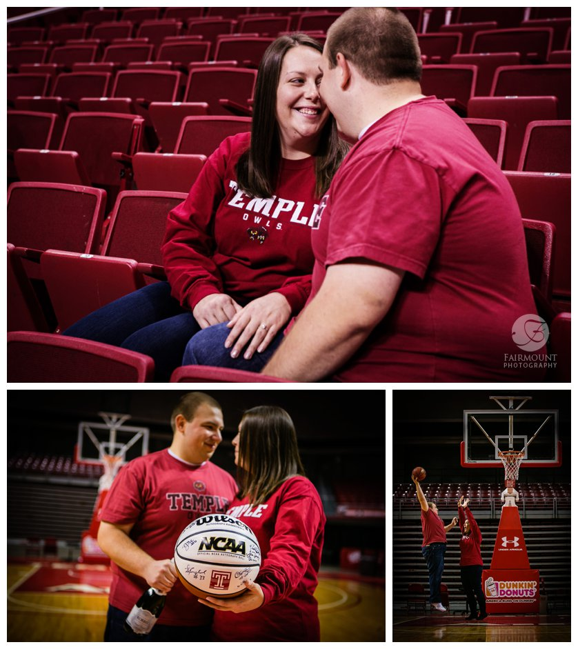 engagement portraits in basketball area in Philly