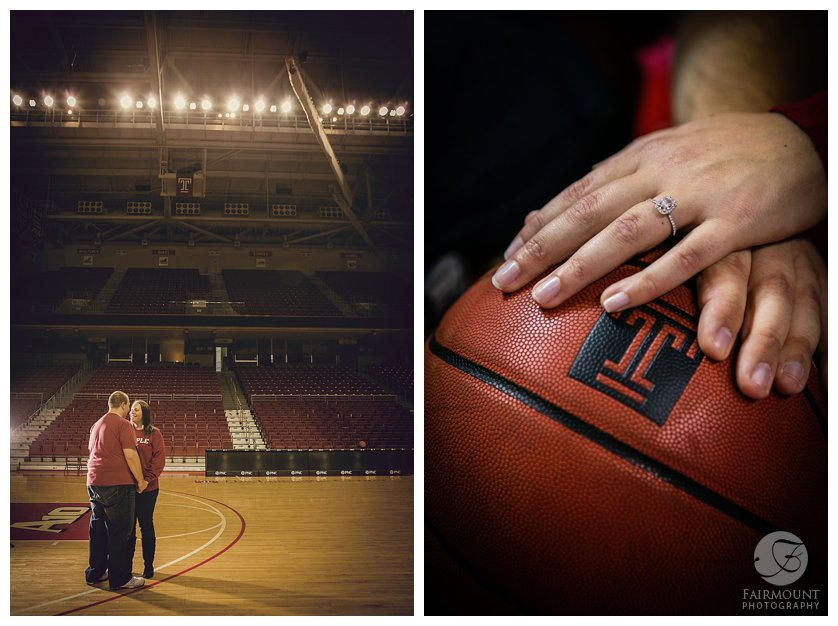favorite college basketball team engagement photos and engagement ring with basketball