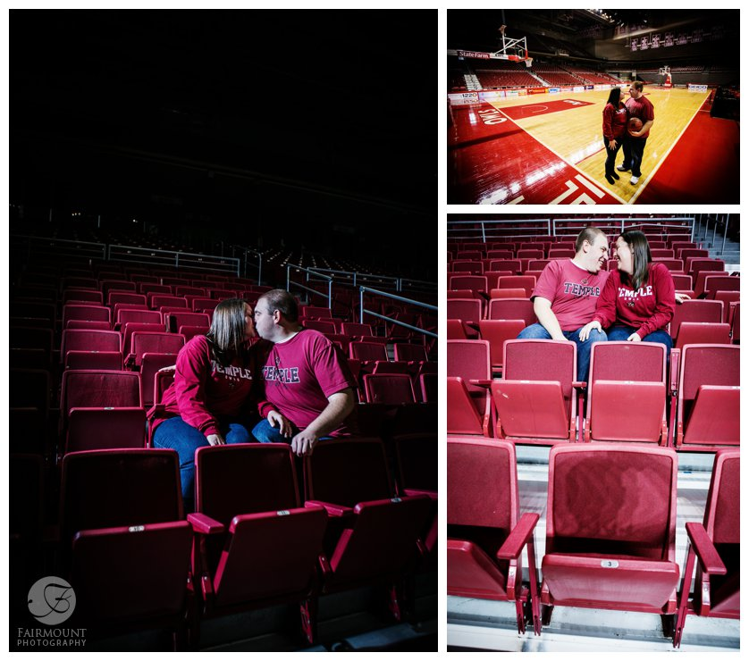 dramatic lighting kiss in stadium seats, engagement photo with basketball court of Philadelphia sports team