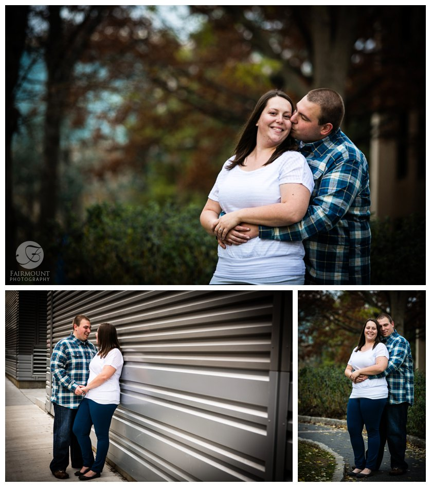 Winter engagement photos with teal, white and gray theme