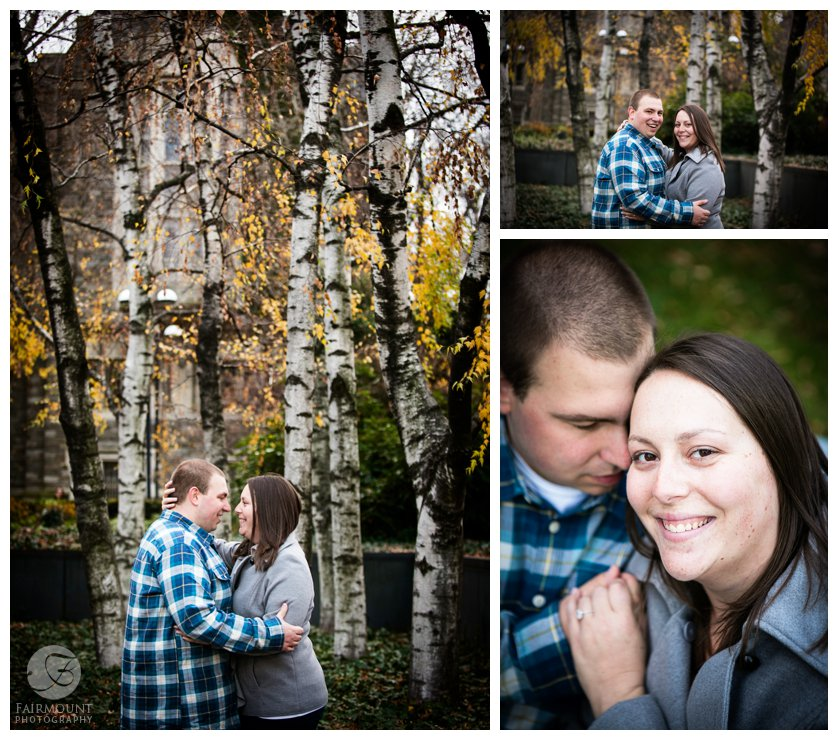 winter engagement portrait among white birch trees with yellow leaves