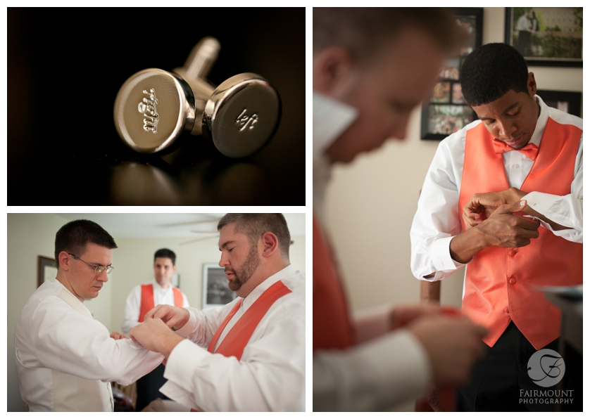 left & right cufflinks, groom gets dressed, groomsmen with orange vests