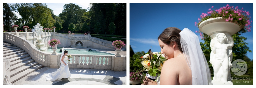 bride walks down steps at Nemours Mansion