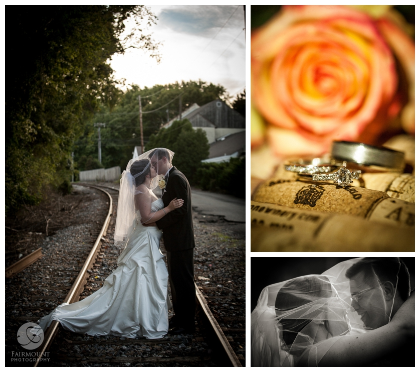 wedding portrait on train tracks, wedding bands with orange roses and wine corks