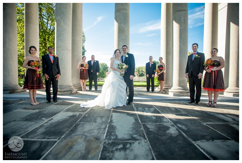 bridal party at Nemours Mansion and Gardens