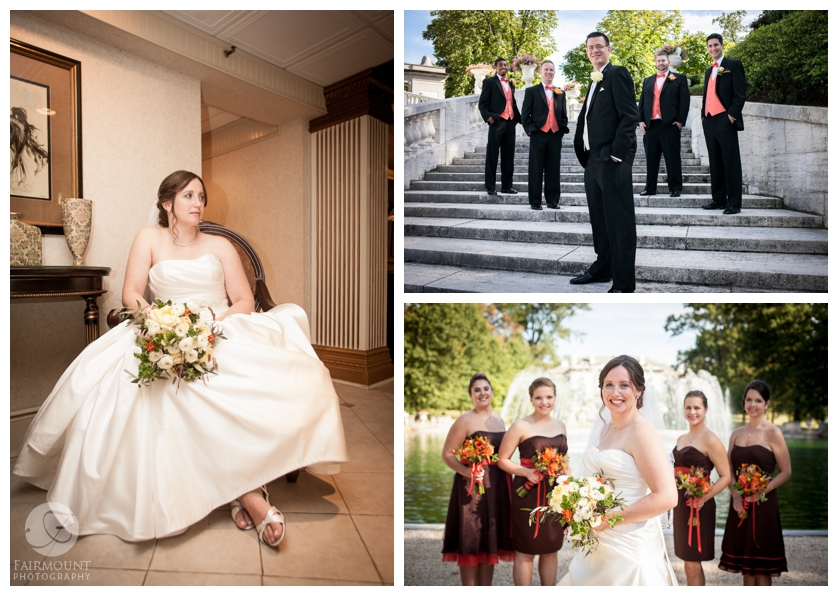 bridal party with fall wedding colors