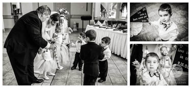 Ringbearers with DIY flags at Philadelphia wedding ceremony