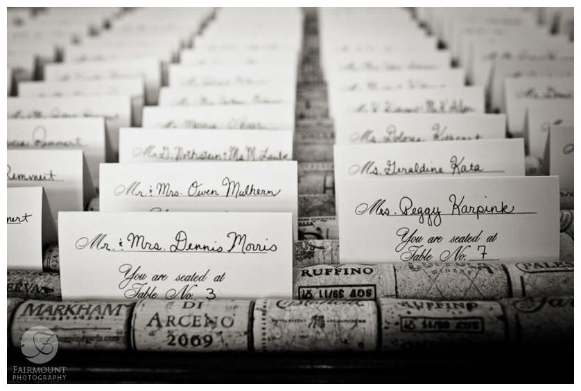 place cards with wine corks