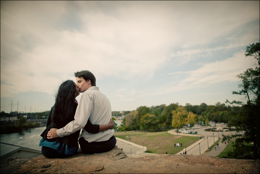 Couple overlooks the Schuykill River and the Philadelphia Waterworks
