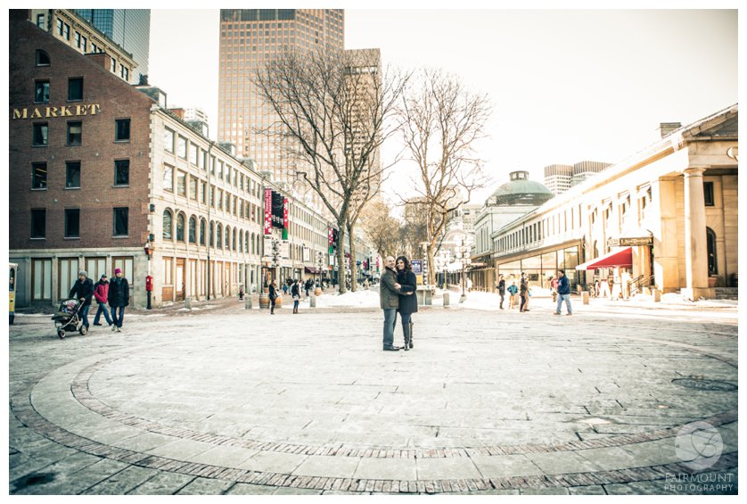 Outside Faneuil Hall at Quincy Market Engagement photo session