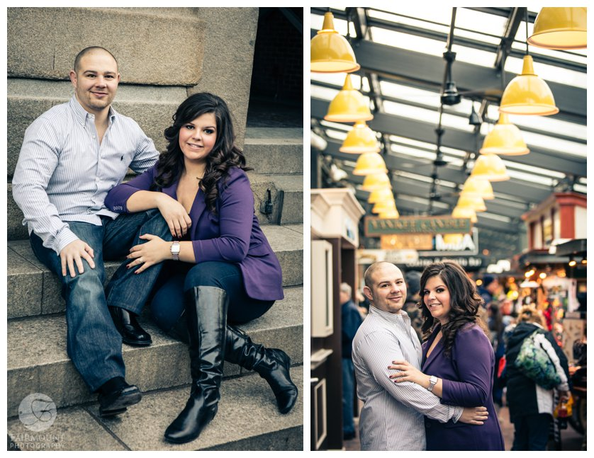 Boston landmark engagement photos at Quincy Market