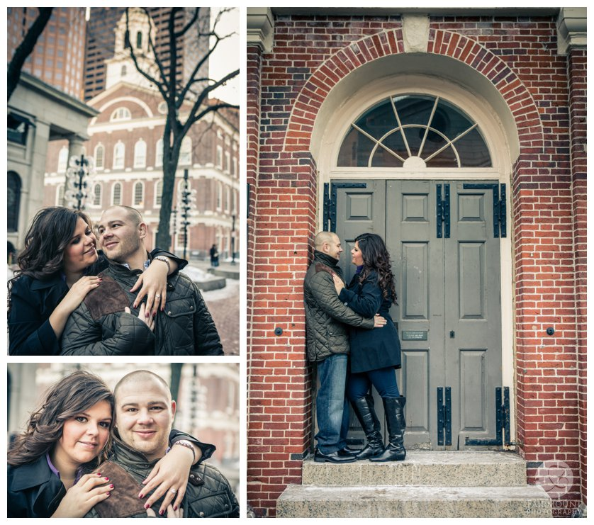 Couple in doorway of Faneuil Hall during winter engagement photos