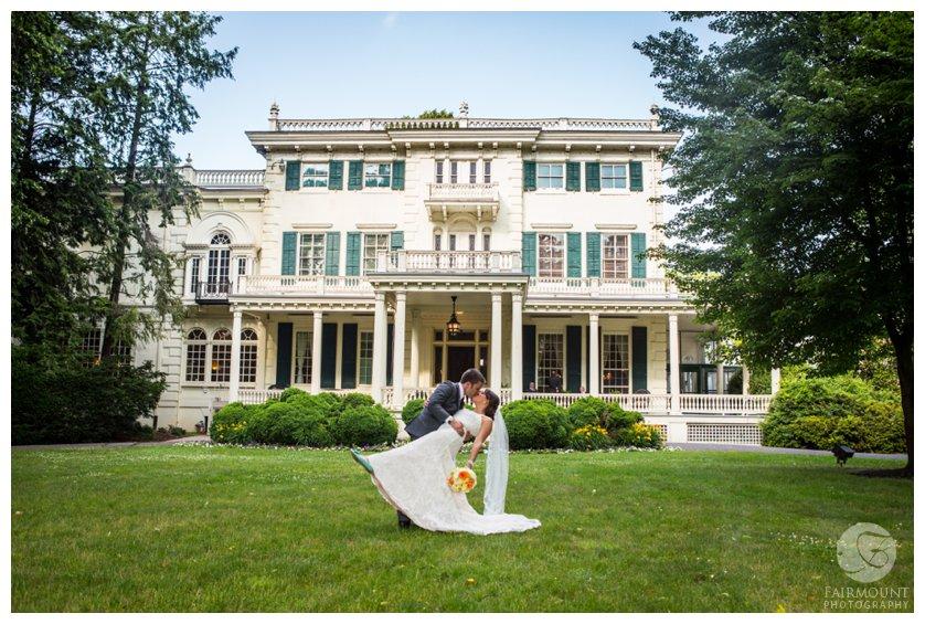 Philadelphia wedding portrait at Glen Foerd Mansion in Northeast Philadelphia