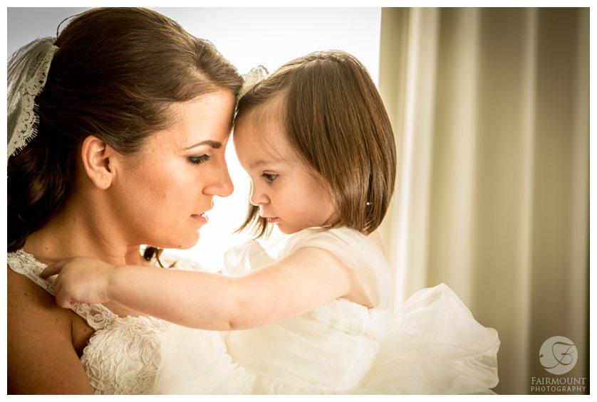 bride and flower girl at Loews hotel in philadelphia