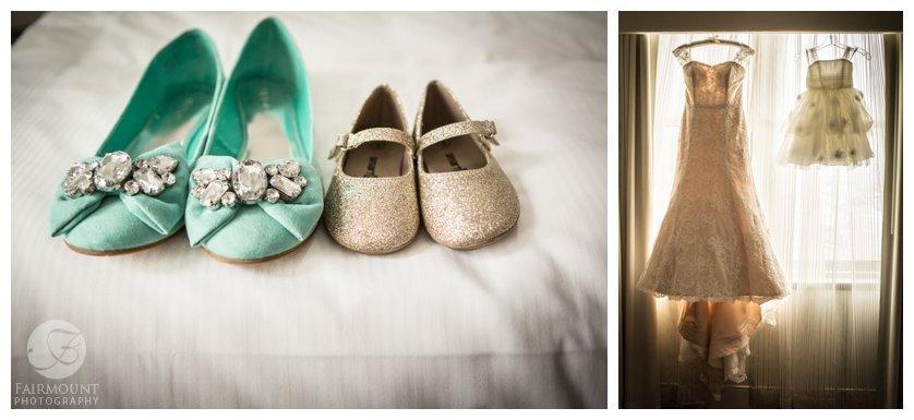 turquoise wedding shoes, sparkly flower girl shoes