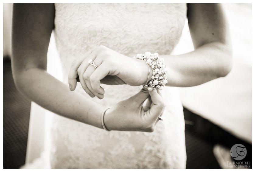 Philadelphia bride puts on wedding jewelry