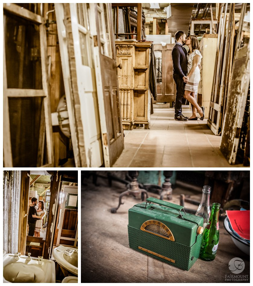 Vintage engagement portraits at architectural salvage clearing house in Philadelphia