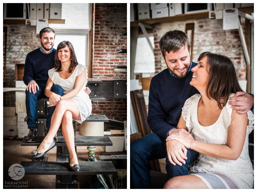 Engagement portrait at ReStore salvage shop in Philadelphia, PA