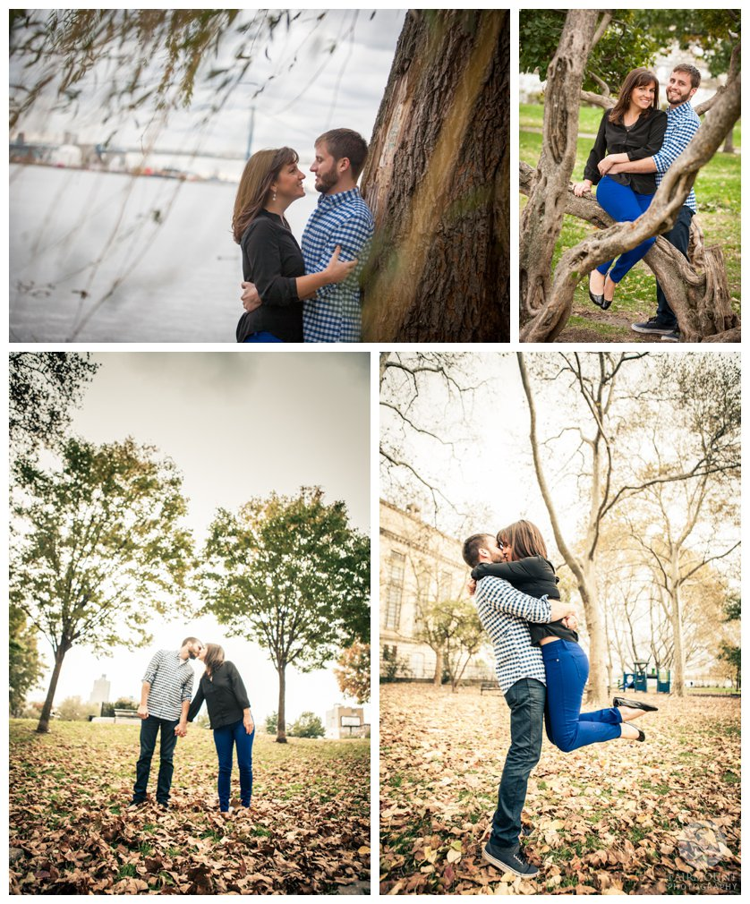engagement portraits at Penn Treaty Park in Fishtown in Philadelphia, PA