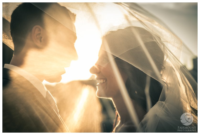 bride & groom portrait with sunglare