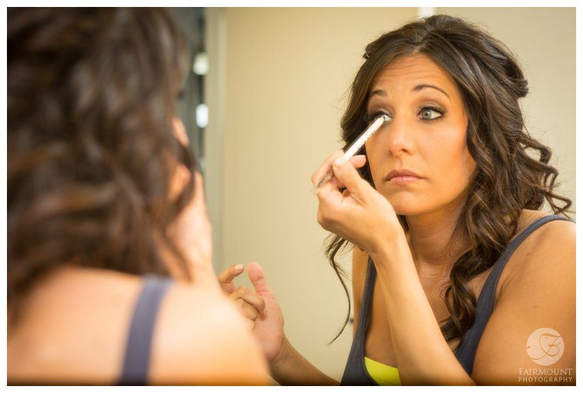 bride putting on make-up