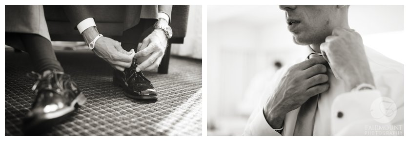 groom puts on shoes and tie for April wedding in Philadelphia, PA