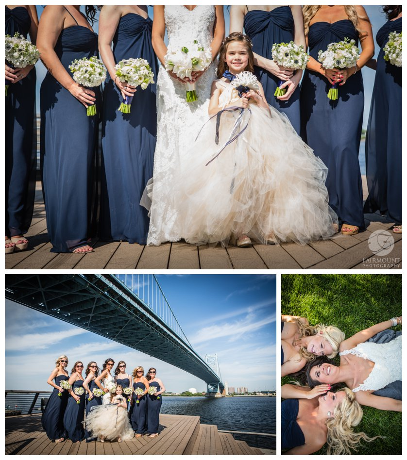 fun bridal party photos with bridesmaids wearing floorlength dark blue dresses