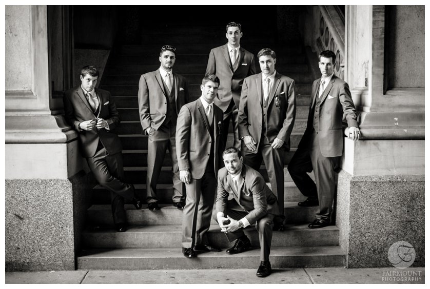 dramatic black & white portrait of groomsmen