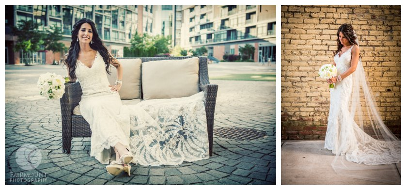 Portraits of Bride in the Piazza at Schmidts in Philadelphia