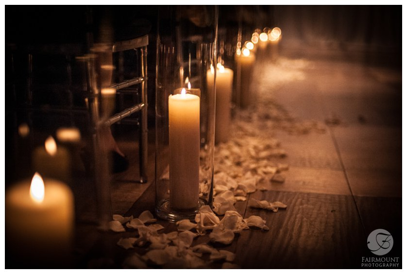 candlelit walkway for wedding ceremony at Tendenza